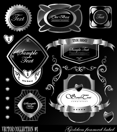 Black glass textured Label vector set 03 free