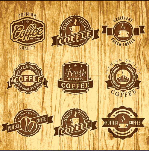 Brown retro coffee labels vector free