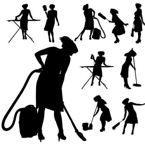 Creative cleaning woman silhouette design vector 03 free