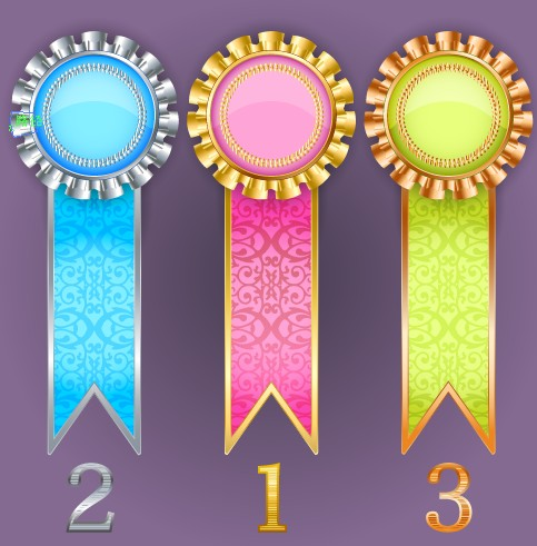 Creative colored award badges vector 03 free