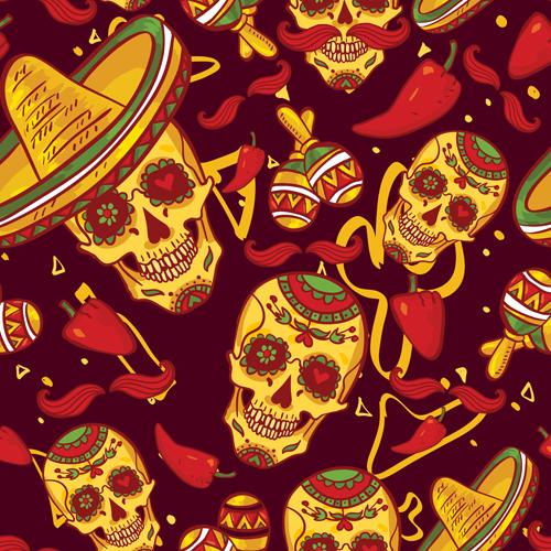 Floral skulls seamless pattern vector set 04 free
