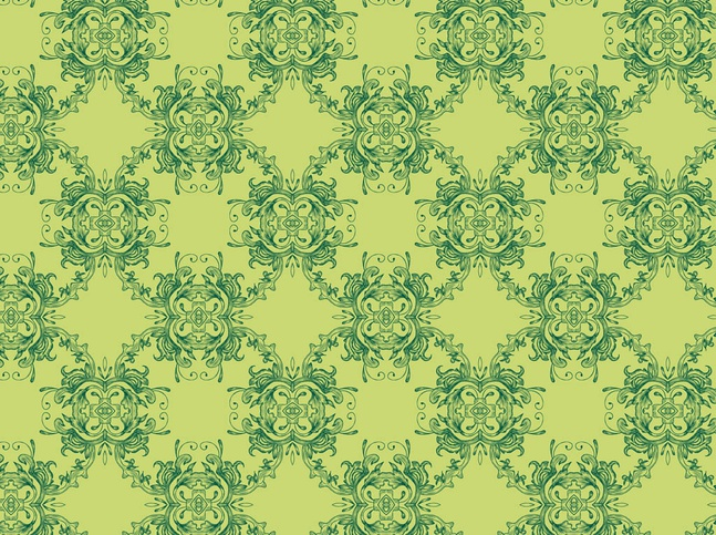 Green Floral Pattern vector free
