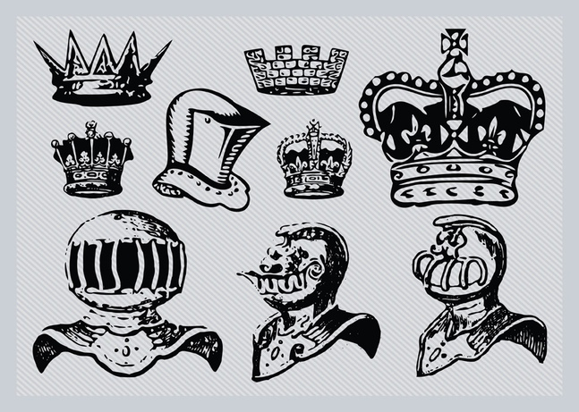 Helmets and Crowns vector free