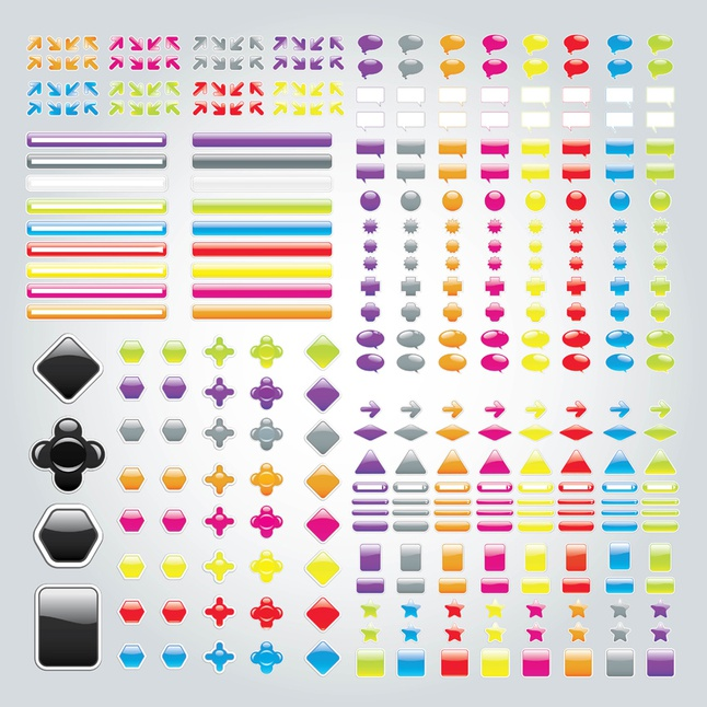 Labels Buttons vector free