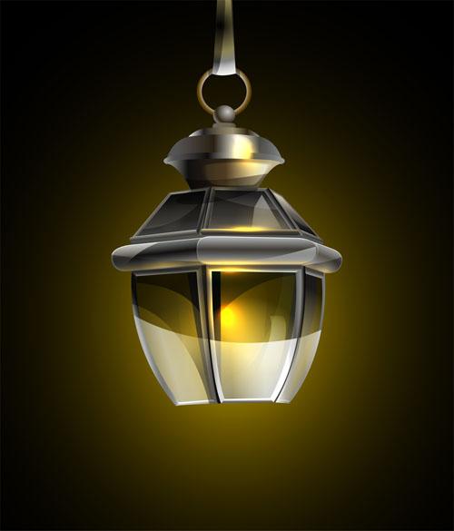 Retro lamp vector 02 free