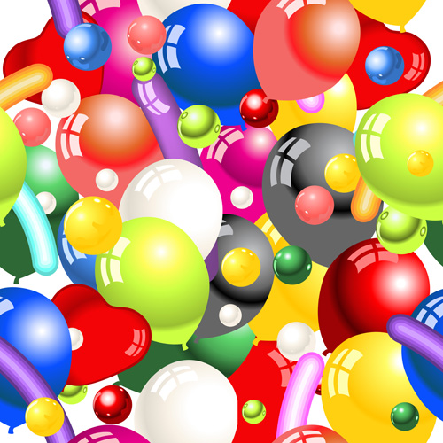 Shiny colored balloon seamless pattern vector free