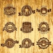 Brown retro coffee labels vector free