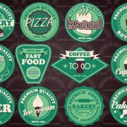 Fast food and drink different colored labels vector 03 free