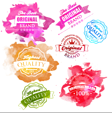 Watercolor premium quality labels vector free