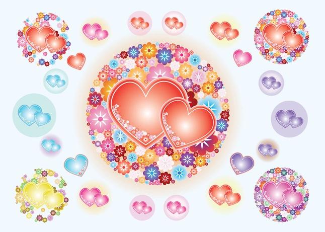 Heart Flowers Vectors free