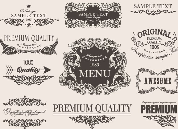 Retro calligraphic frame labels decor vector 02 free