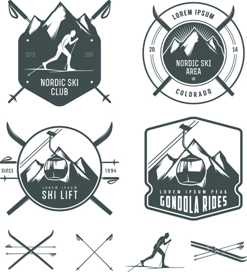 Retro labels and emblems set vector 01 free