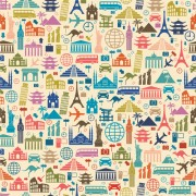 Different travel elements pattern vector graphics free