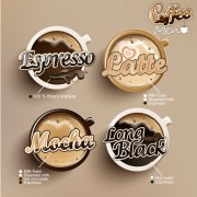 Modern coffee labels with elements vector 01 free