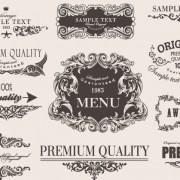Retro calligraphic frame labels decor vector 02 free