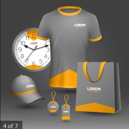 Business T-shirt hat and tag with clock vector free
