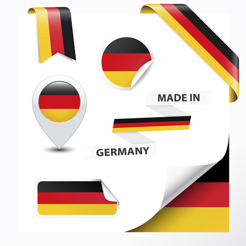 Different countries flag sticker with ribbon vector 02 free