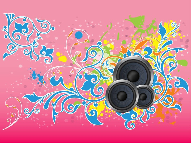 Flowers And Music vector free