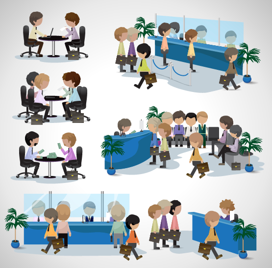 People transact business in the bank vector set 08 free