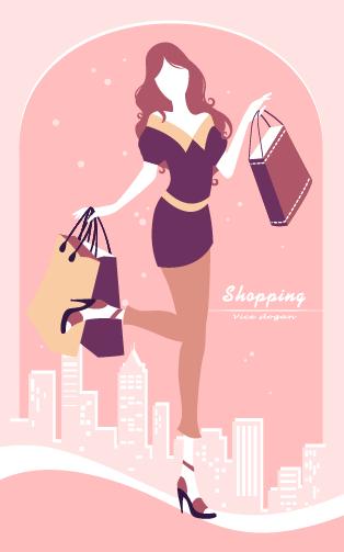 Beautiful shopping girl vector 04 free