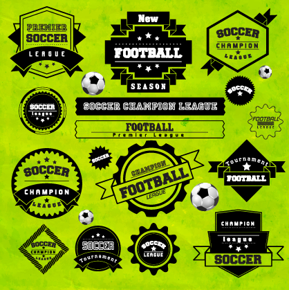 Creative football labels design vector graphics 02 free
