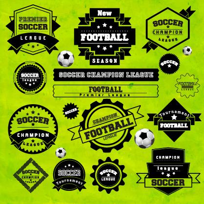Creative football labels design vector graphics 02 free