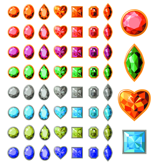 Creative jewels vector set 01 free