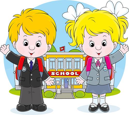 Cute school children vectors geaphics set 04 free