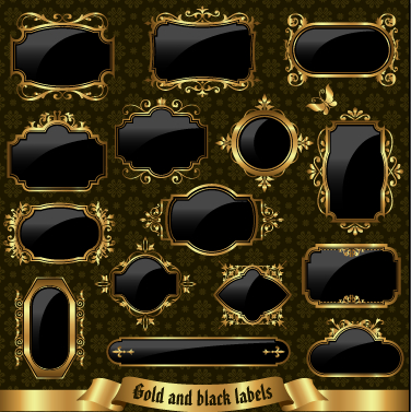 Textured black and golden labels vector graphics free