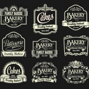 Dark style coffee labels vector graphic set 02 free