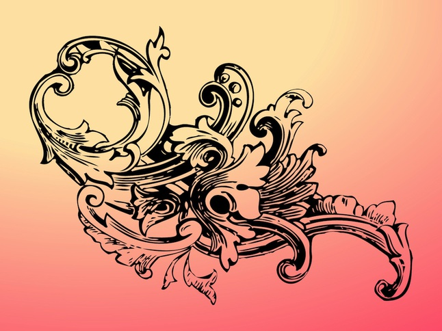 Baroque Flower vector free