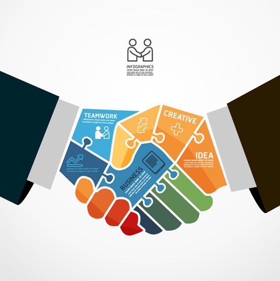 business teamwork creative infographics vector free