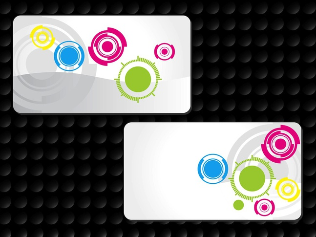 Circles Business Cards vector free