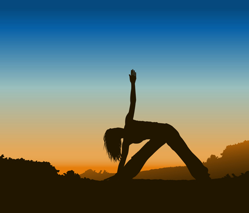 Creative yoga and sunset vector 01 free