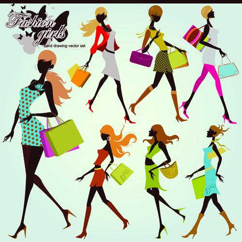 Hand drawing shopping girls vector set 02 free