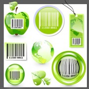 Ecology with barcode label and tags vector free
