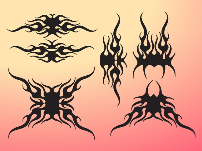 Tribal Flame Pack vector free
