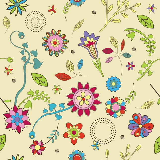 Cute Flowers Wallpaper Pattern vector free