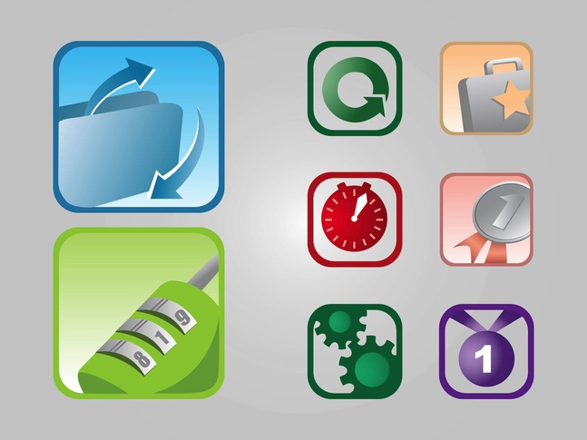 Square Icons vector free