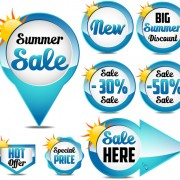 Blue summer sale labels design vector 02 free
