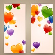 Colored heart shaped balloon banner vector free