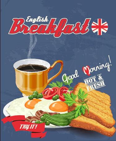 Vector retro breakfast poster design graphic 02 free