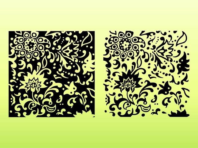 Decorative Floral Tiles vector free