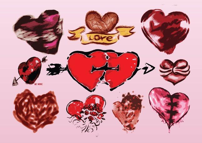Grunge Hearts Vectors free