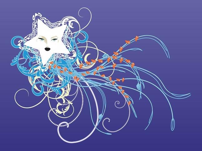 Star And Swirls Graphics vector free