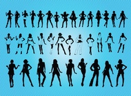 Sexy Girls Silhouettes vector free