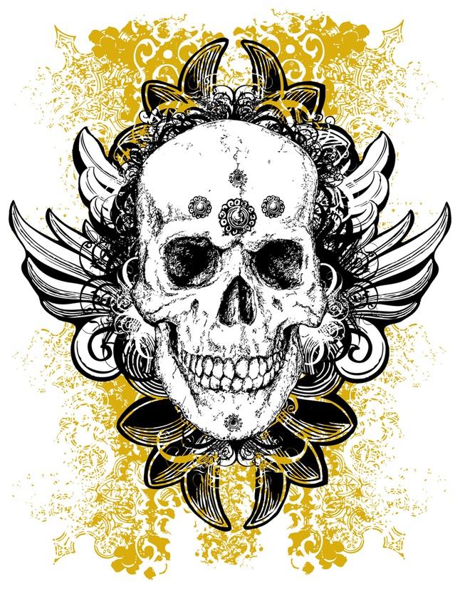 Grunge Skull vector free