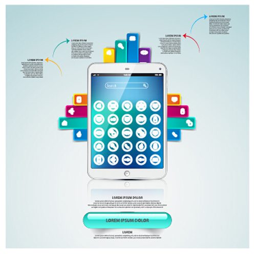 Tablet phone with infographic design vector free