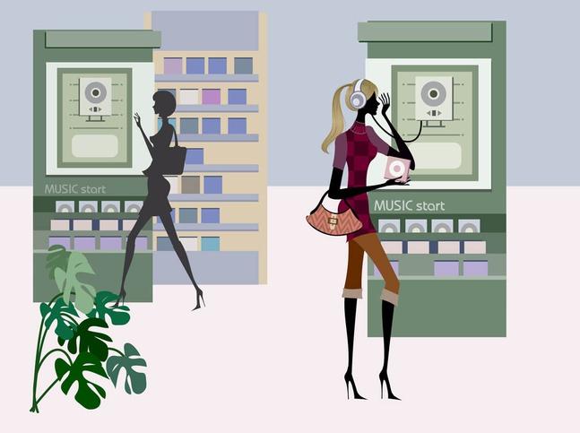 Shopping Women Graphics vector free