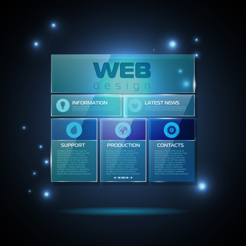 Blue web infographics template design vector 03 free